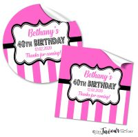 Birthday Stickers Candy Stripes Hot Pink