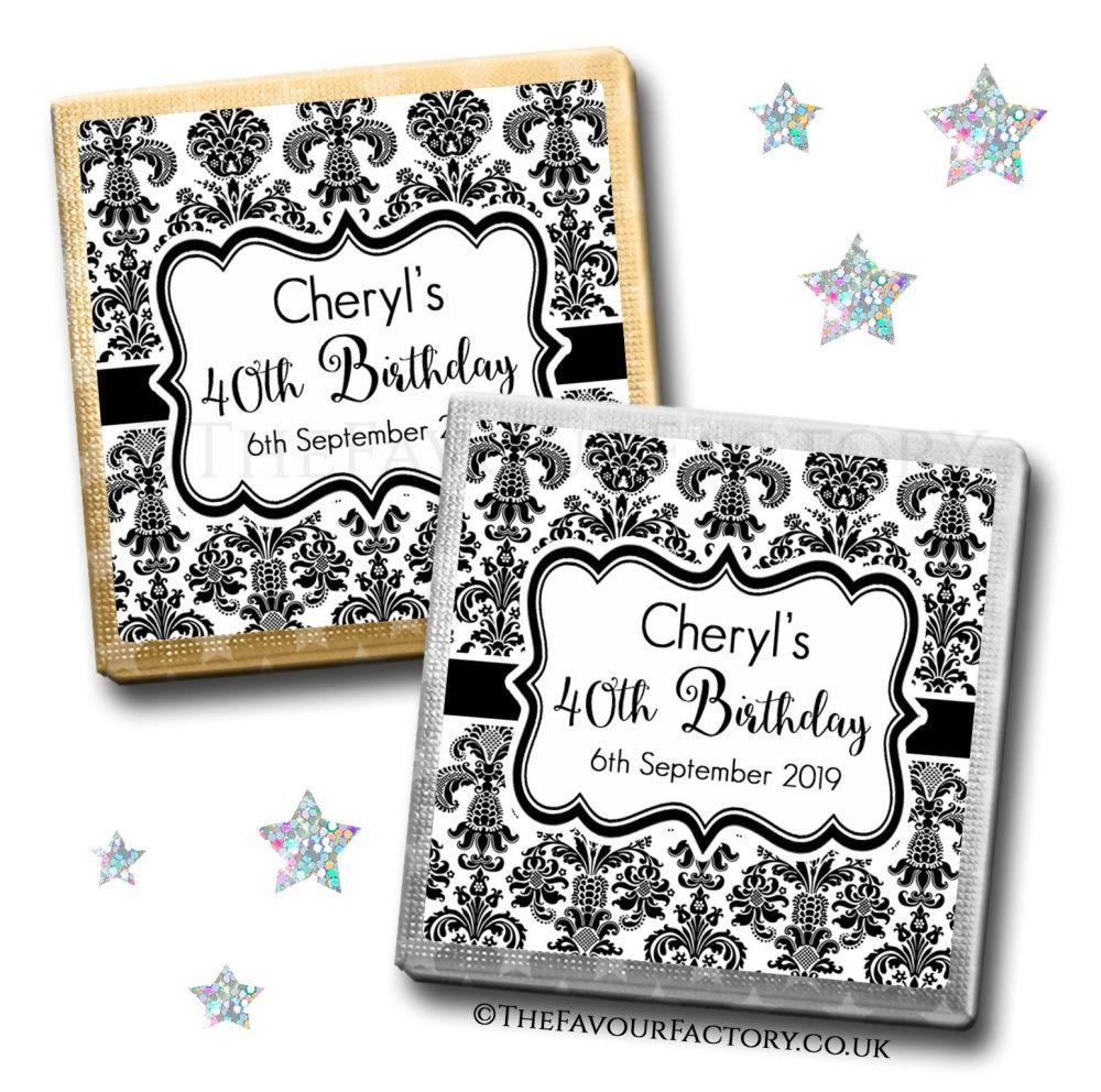 Birthday Favours Chocolates Elegant Damask x10