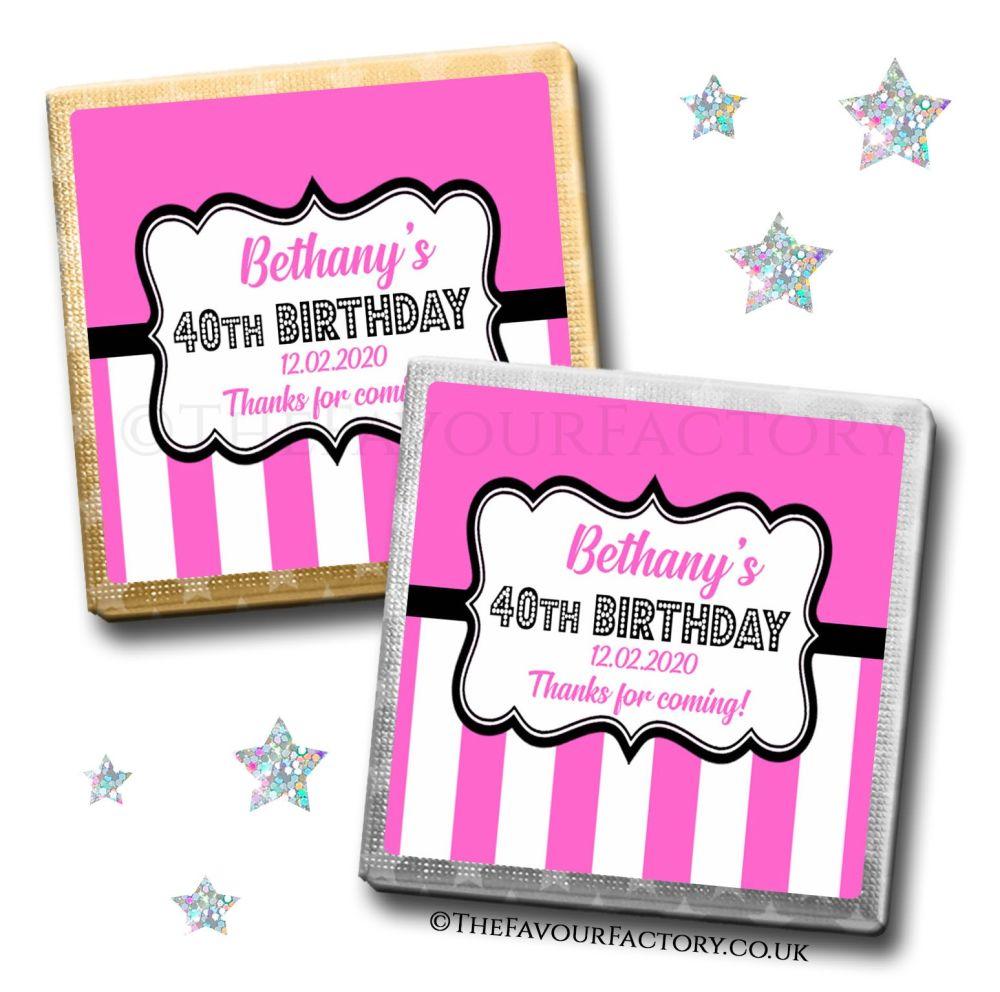 Birthday Chocolates Hot Pink Candy Stripes  x10