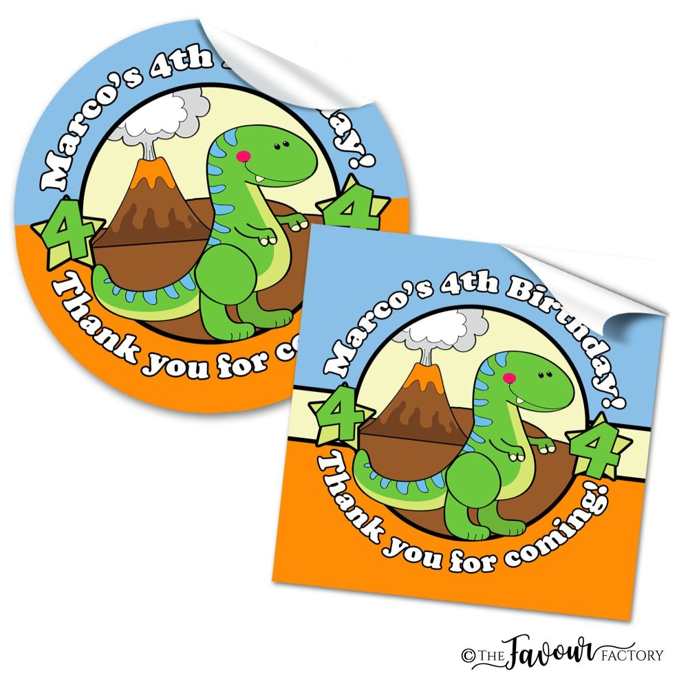 Cute Dinosaur Personalised Birthday Stickers