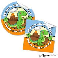 Cute Dinosaur Personalised Birthday Stickers