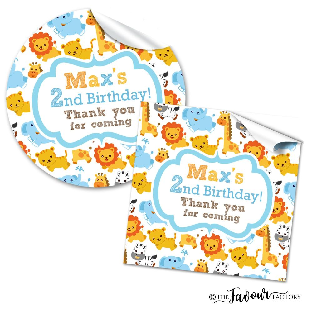 Jungle Animals Personalised Birthday Stickers