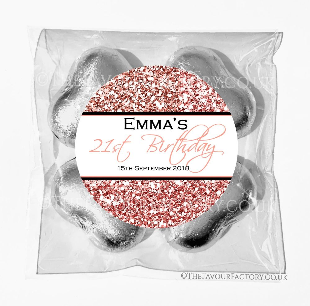 Birthday Chocolates Foil Hearts Favour Bags Rose Gold Glitter Sparkles x1