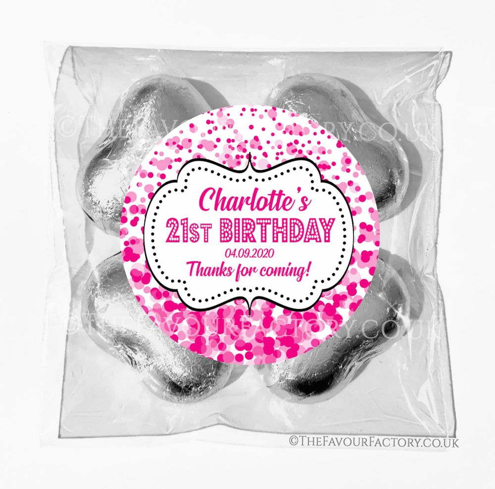 Birthday Chocolates Foil Hearts Favour Bags Pink Confetti x1
