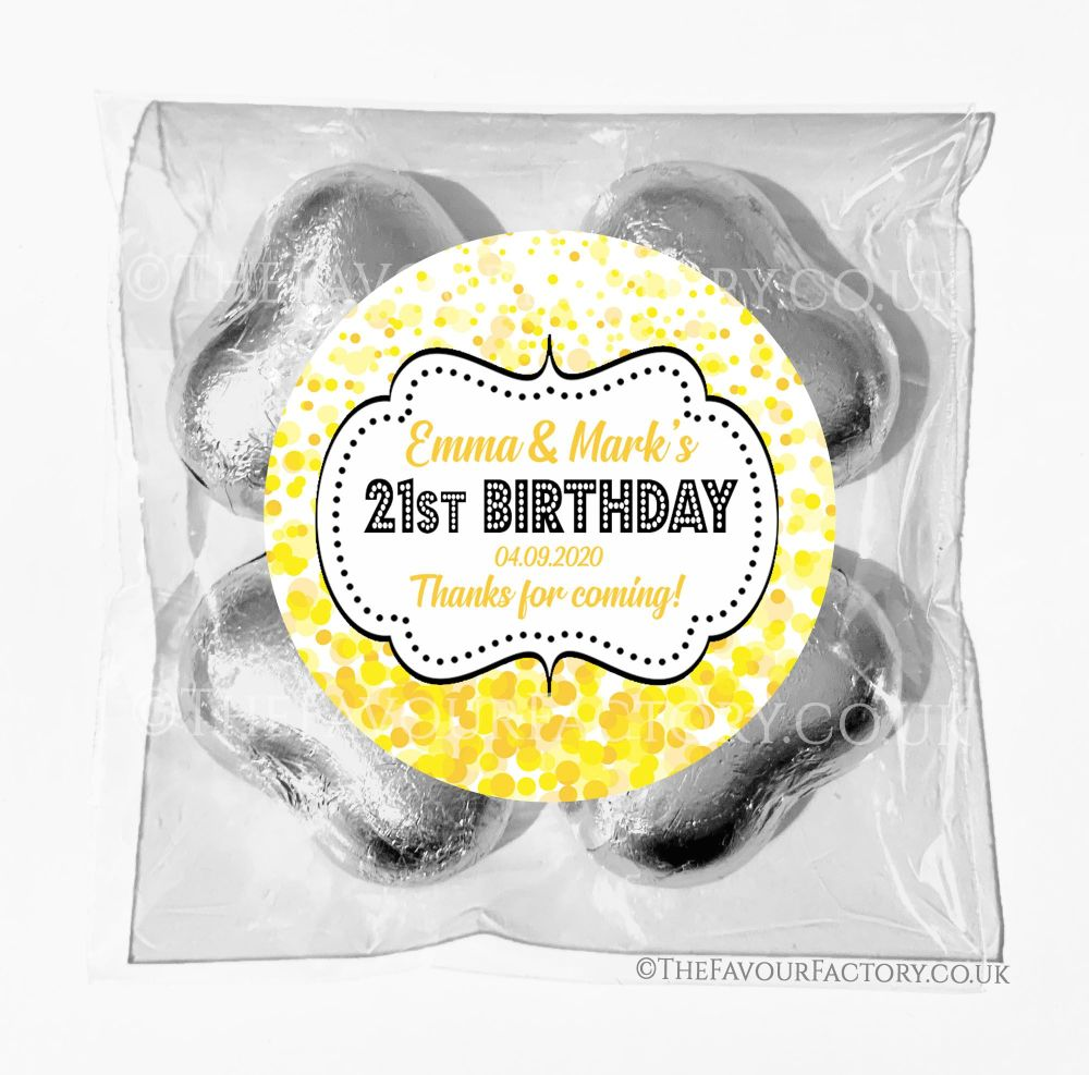 Birthday Chocolates Foil Hearts Favour Bags Yellow Confetti x1