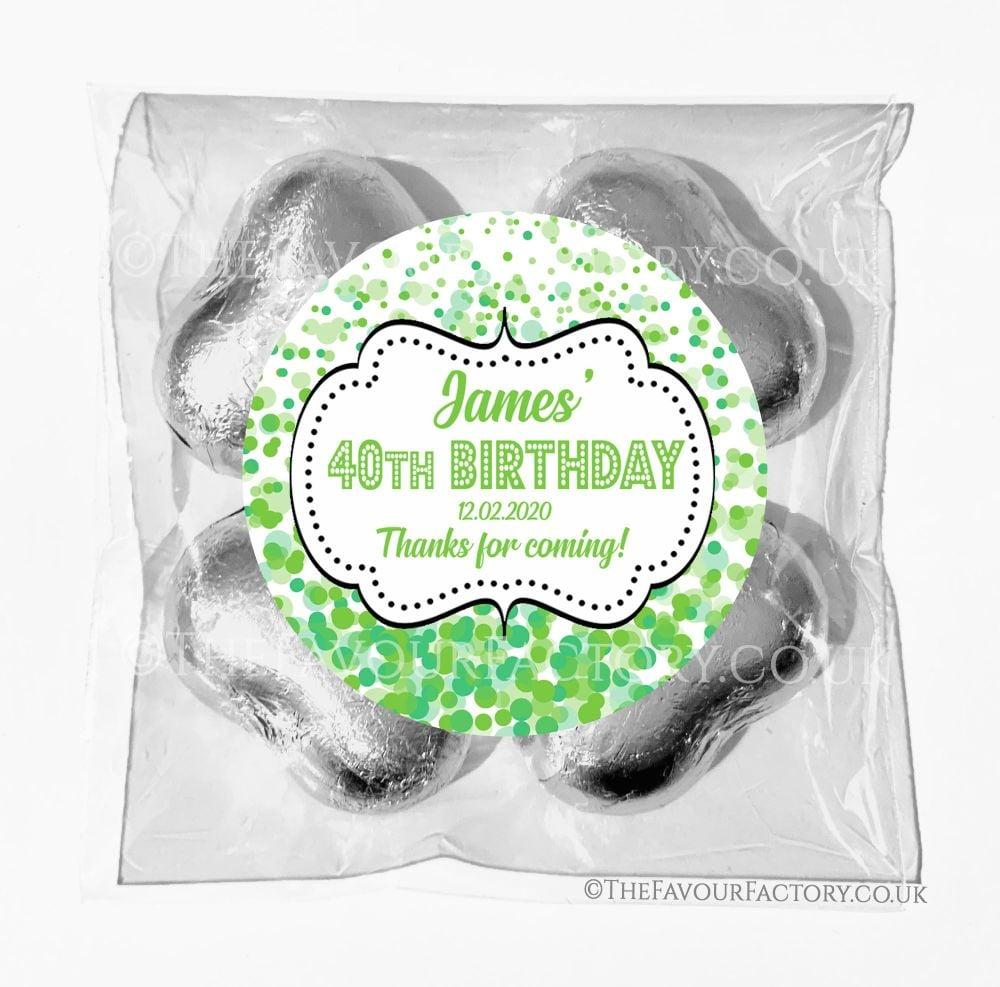 Birthday Chocolates Foil Hearts Favour Bags Green Confetti x1