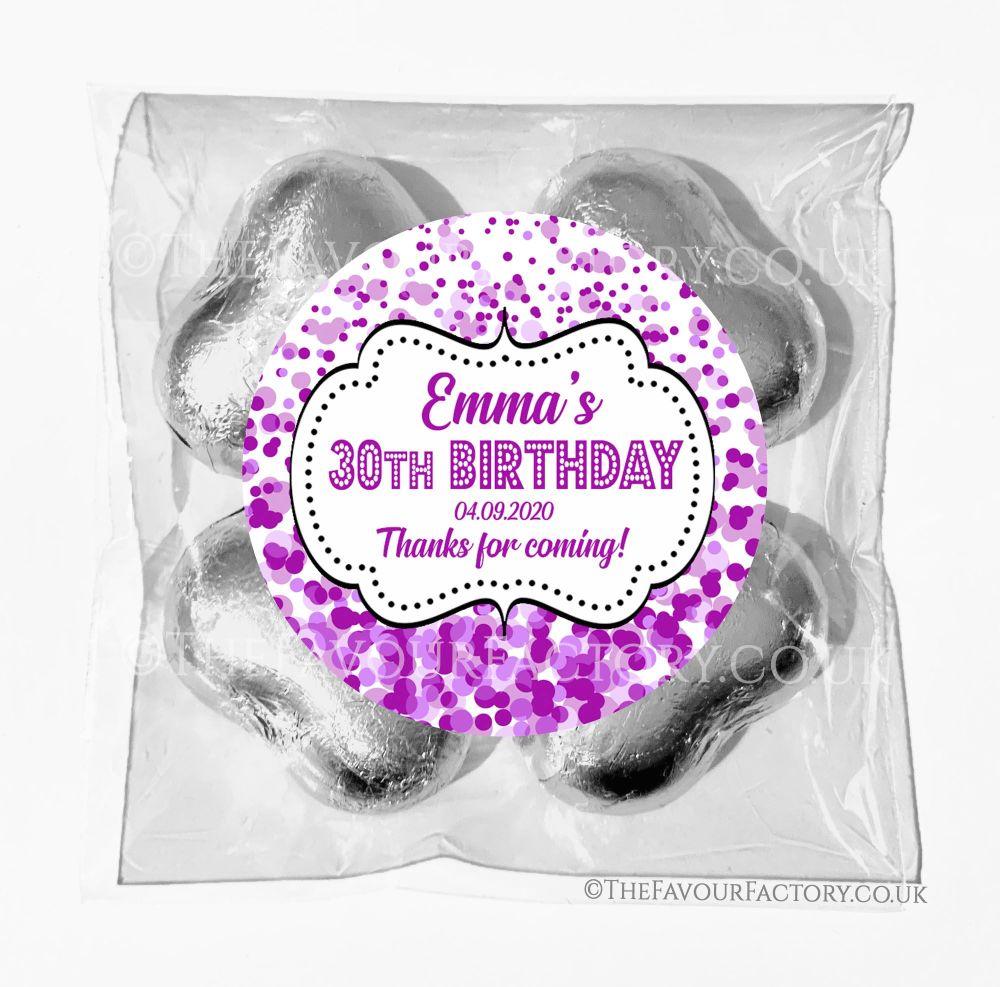 Birthday Chocolates Foil Hearts Favour Bags Purple Confetti x1