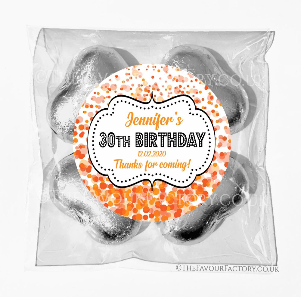 Birthday Chocolates Foil Hearts Favour Bags Orange Confetti x1