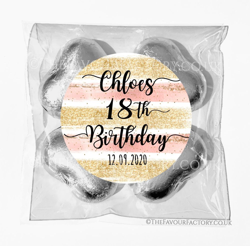 Birthday Chocolates Foil Hearts Favour Bags Rose Gold Glitter Strokes x1