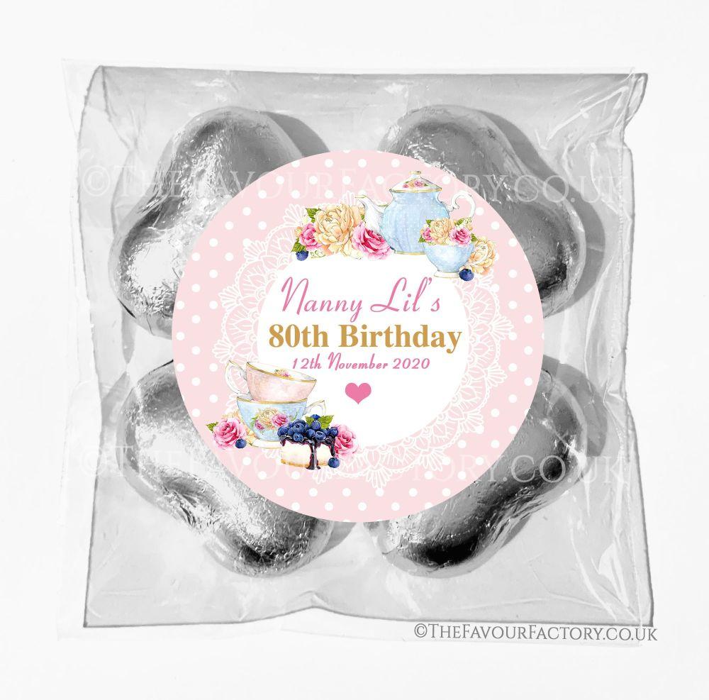 Birthday Chocolates Foil Hearts Favour Bags Tea Party x1