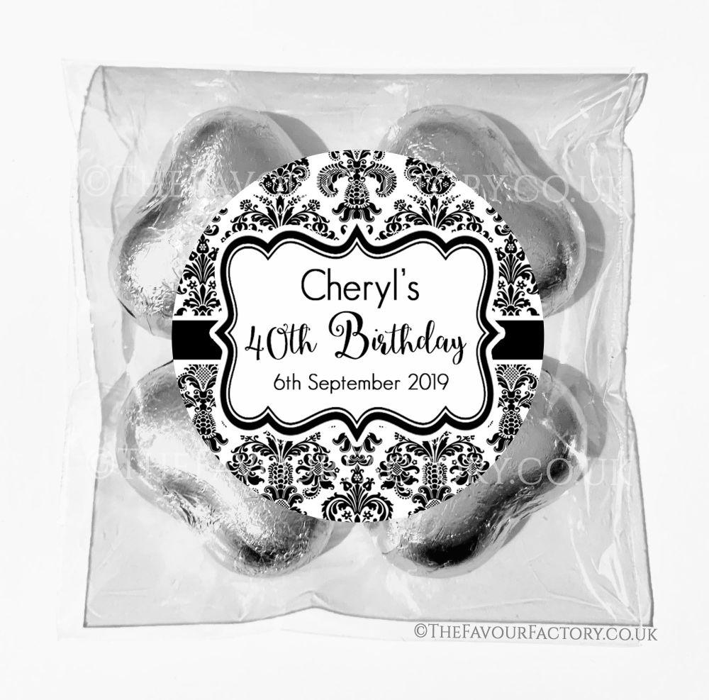 Birthday Chocolates Foil Hearts Favour Bags Elegant Damask x1