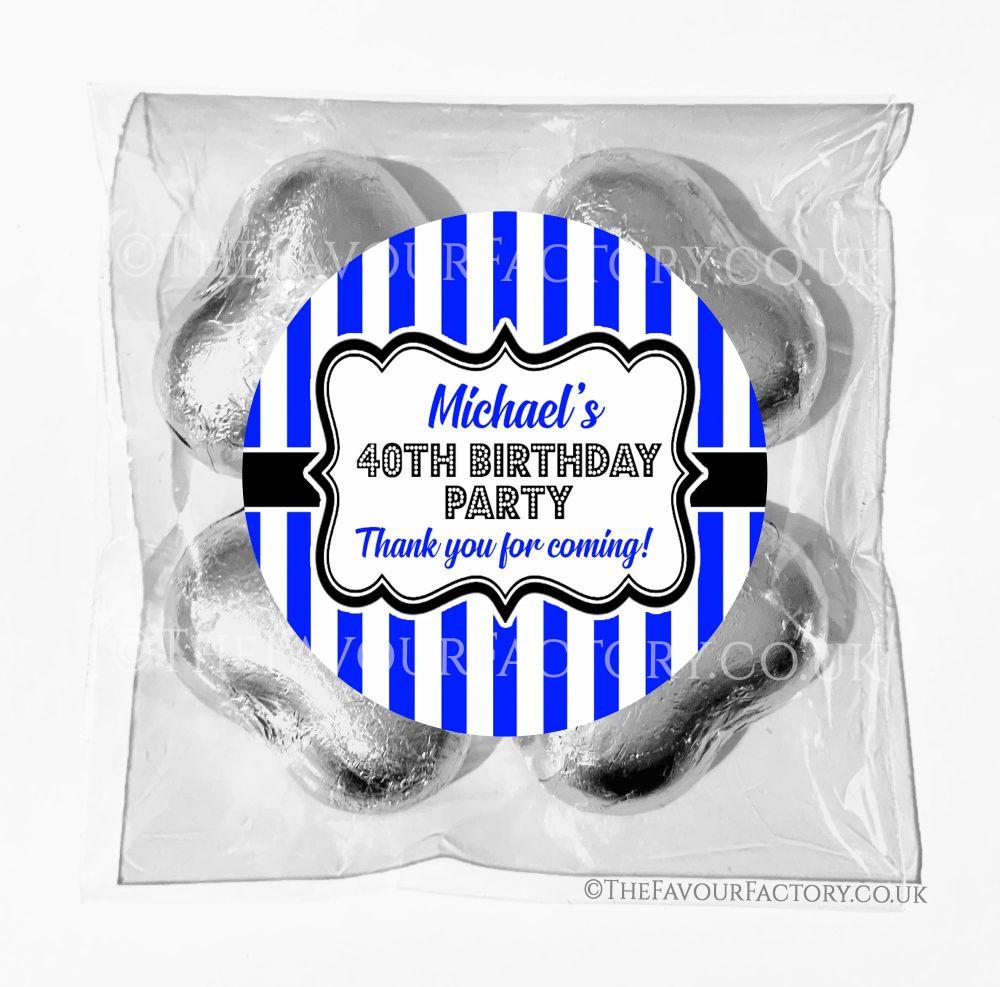 Birthday Chocolates Foil Hearts Favour Bags Blue Stripes x1