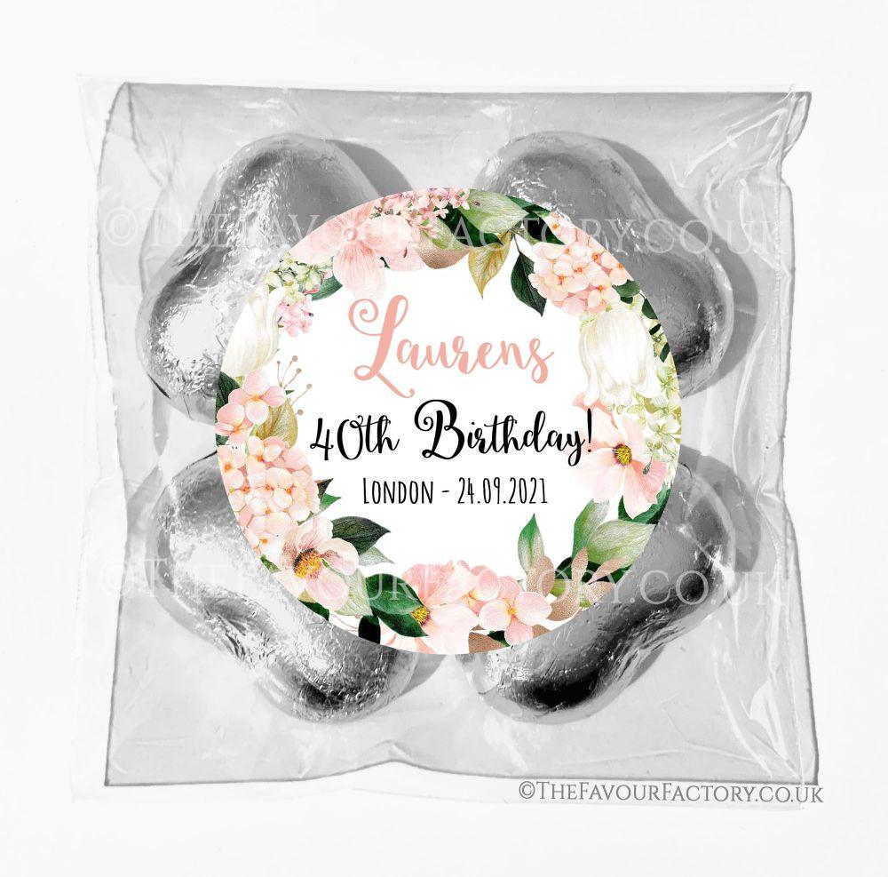 Birthday Chocolates Foil Hearts Favour Bags Blush Hydrangeas x1