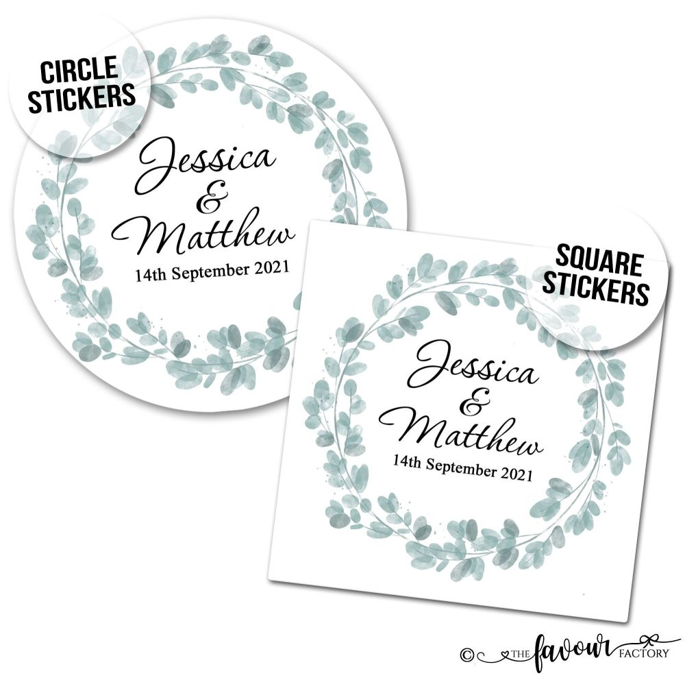 Wedding Stickers Eucalyptus Wreath