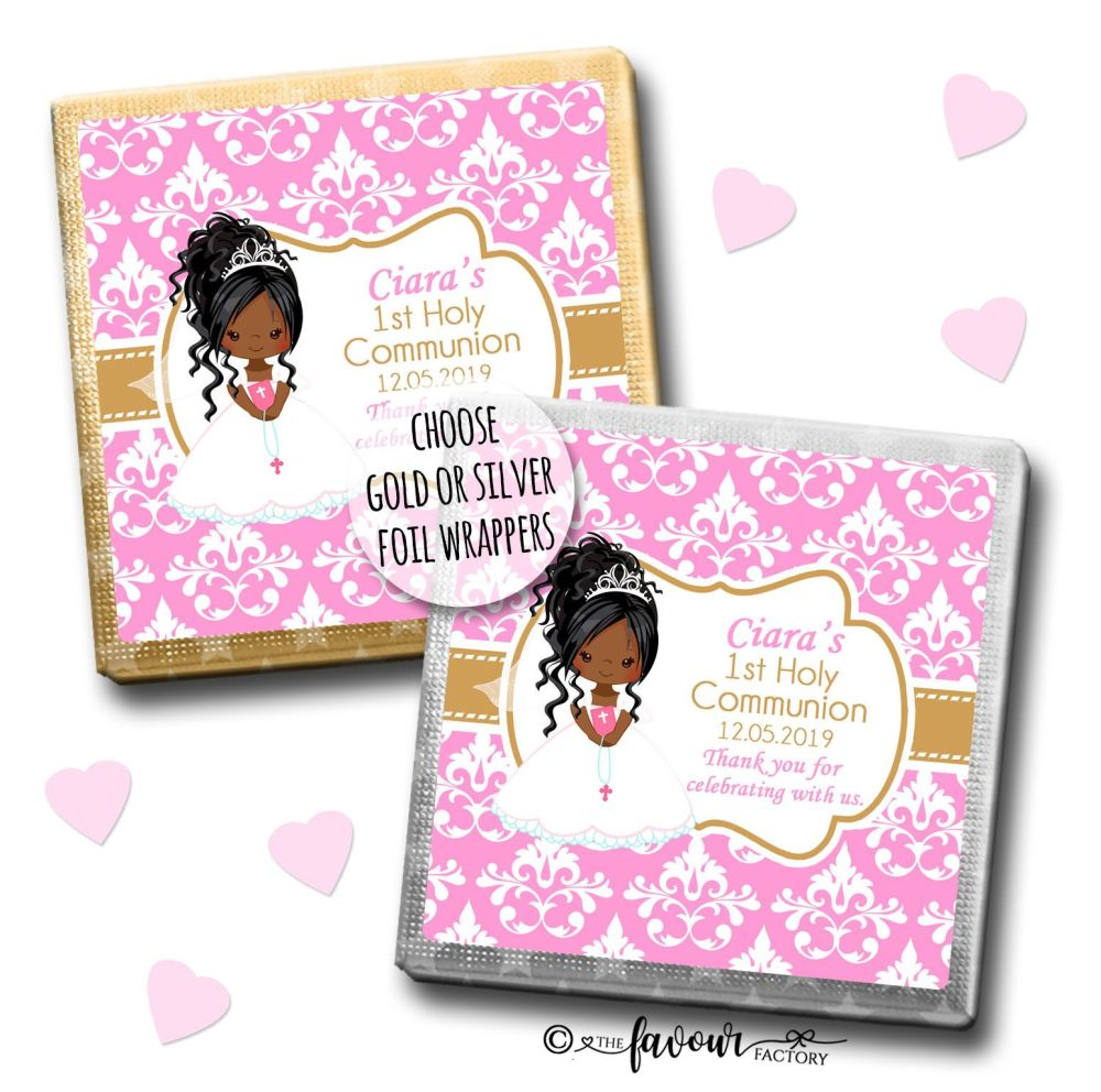 Communion Chocolates Squares Black Girl Damask x10