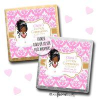 Communion Chocolates Squares Black Girl Damask x10