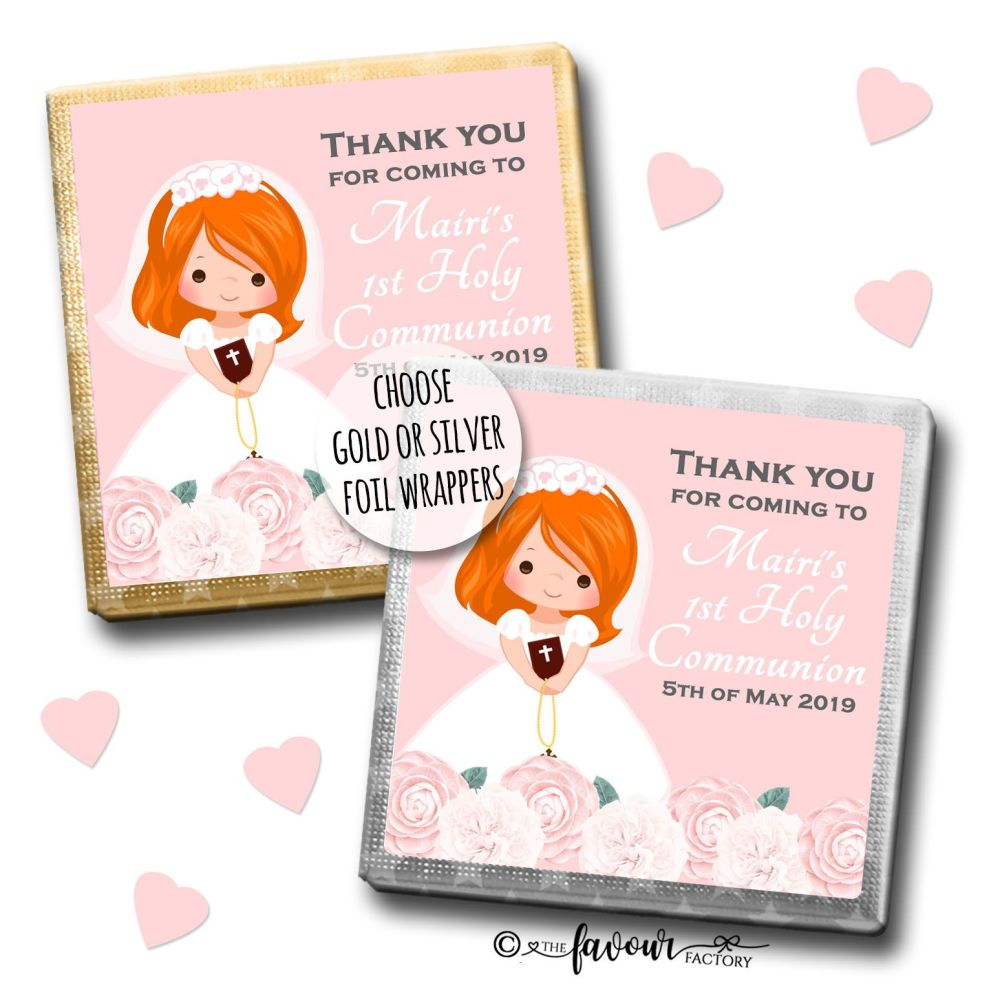 Communion Chocolates Squares Ginger Girl Florals x10