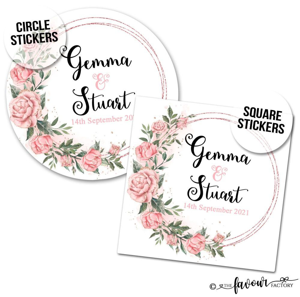 Wedding Stickers Rose Gold Roses Wreath