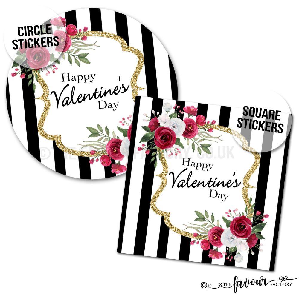 Valentine's Day Stickers Black Stripe Roses