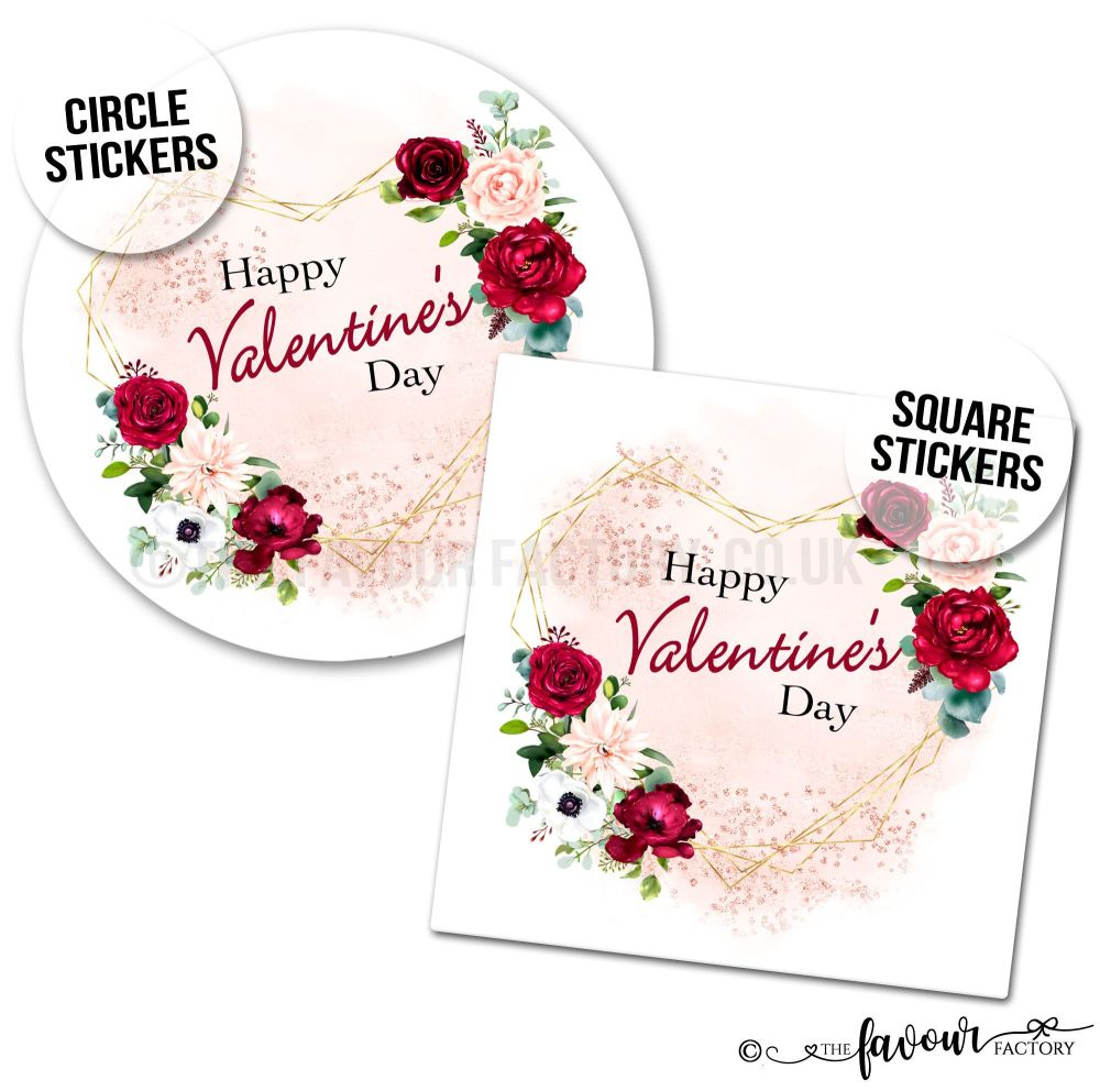 Valentine's Day Stickers Gold Heart Floral Frame