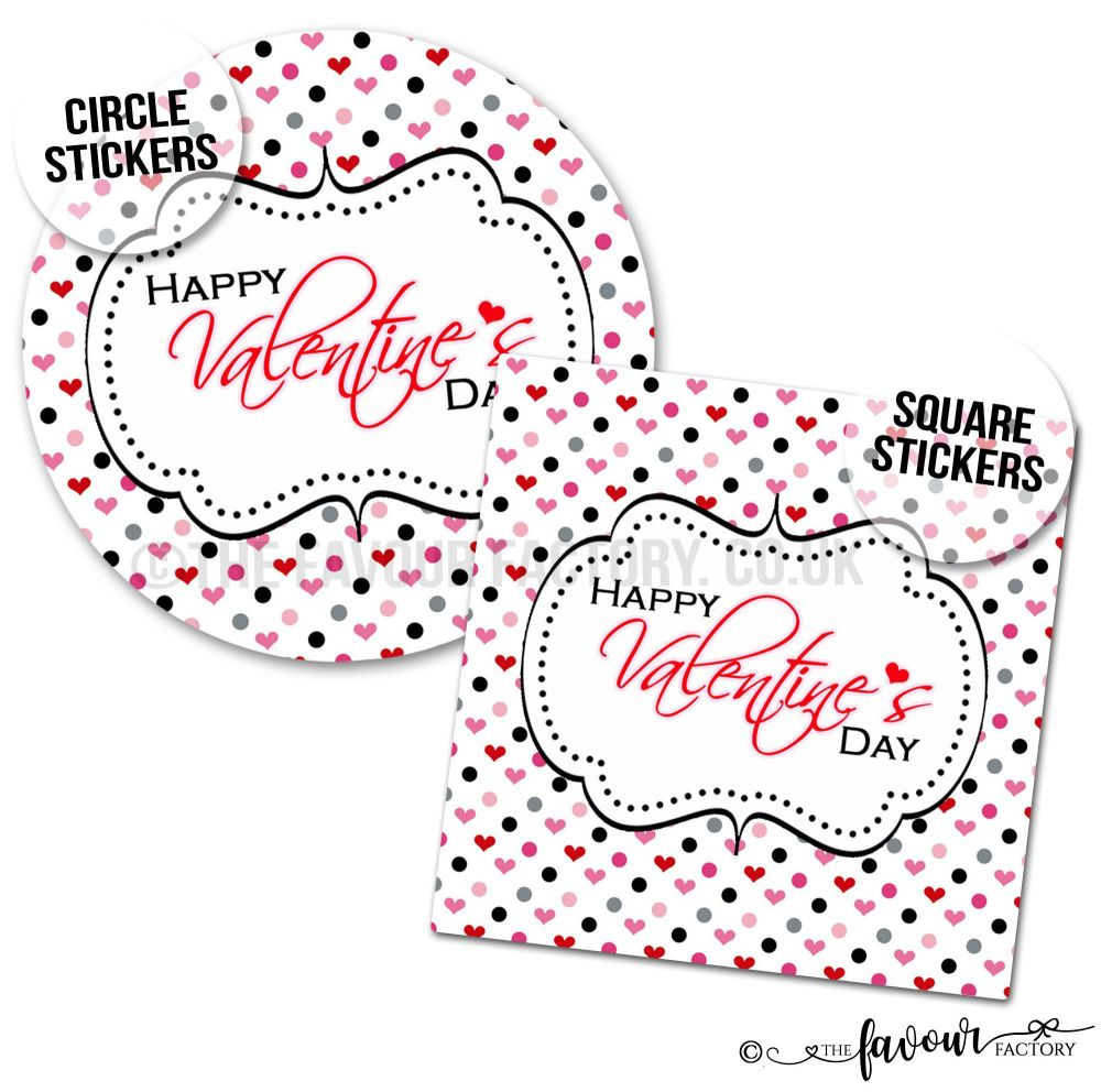 Valentine's Day Stickers Polka Dot Hearts