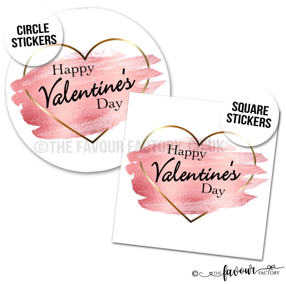 Valentine's Day Stickers Gold Heart Brush Strokes