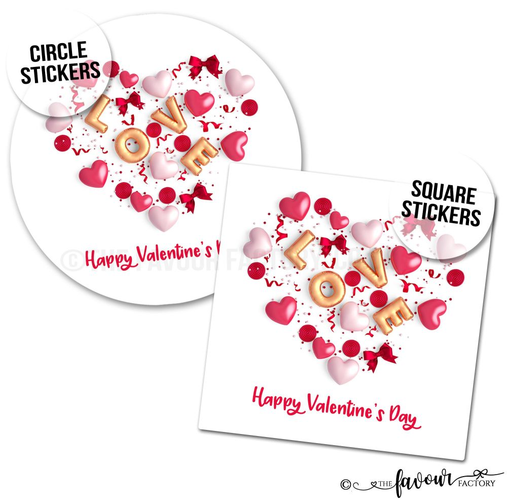 Valentine's Day Stickers Love Balloons