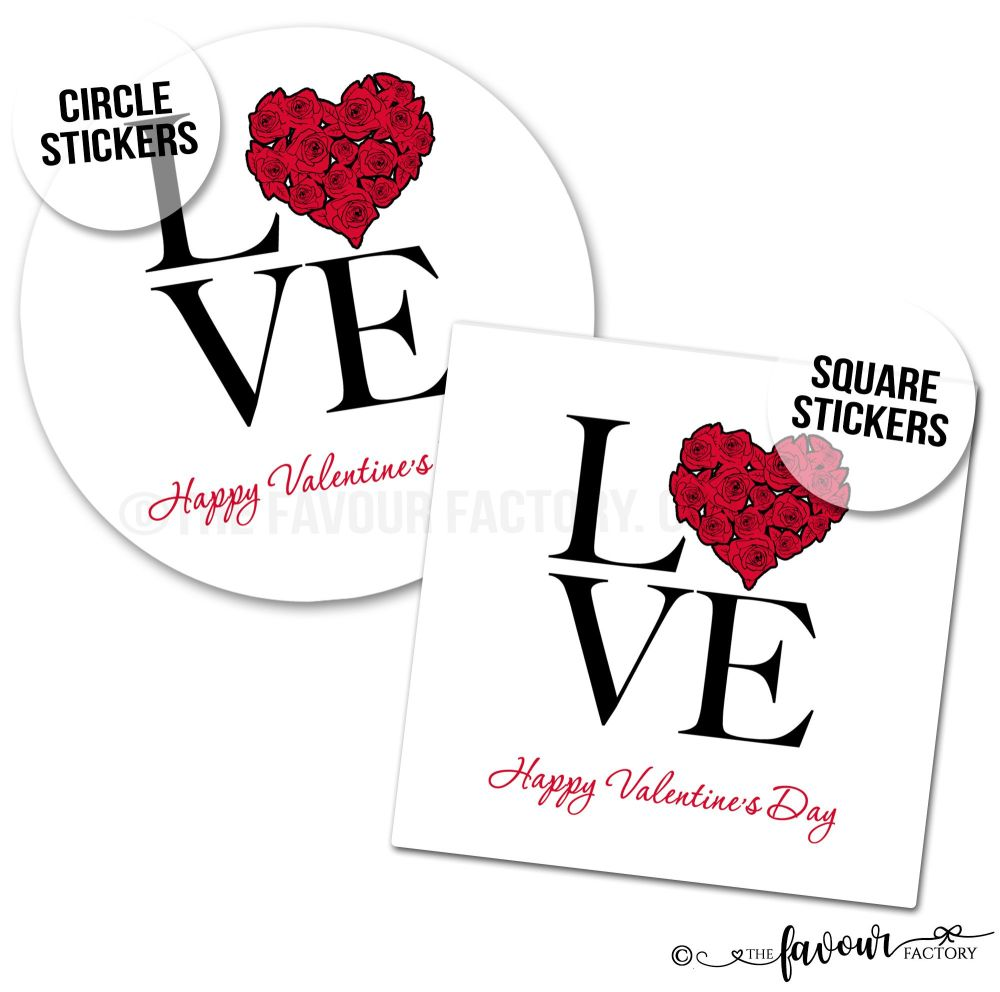 Valentine's Day Stickers Love Heart Roses