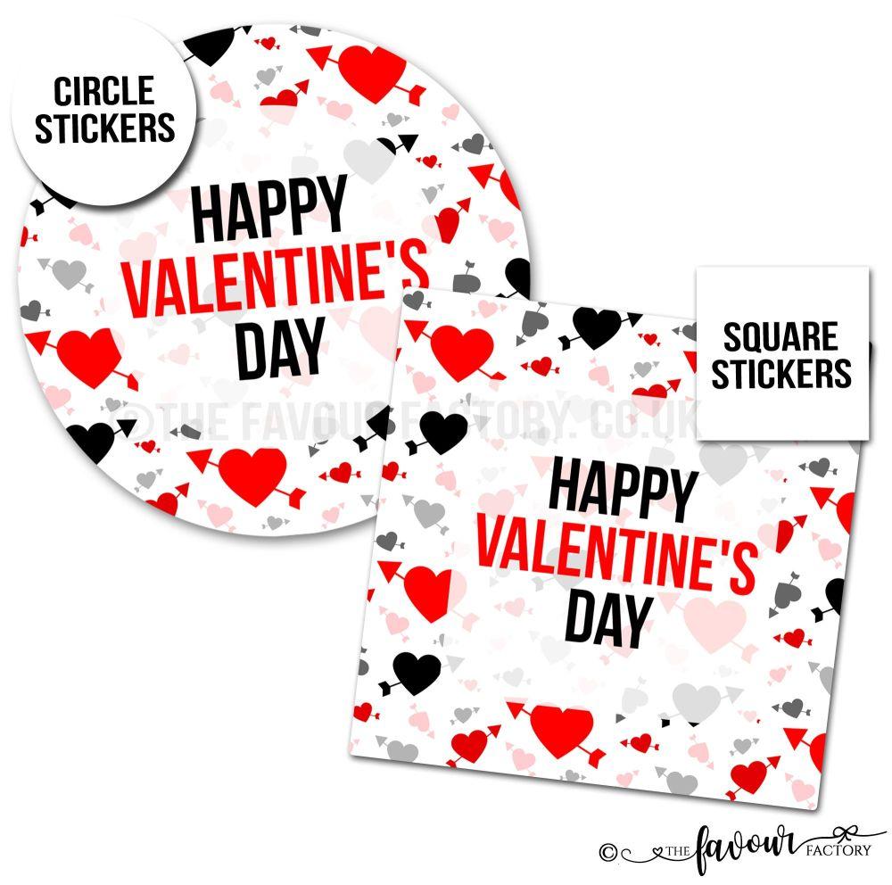 Valentine's Day Stickers Arrow Through Heart