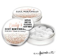 Adult Birthday Favours Tins Rose Gold Glitter Confetti x1
