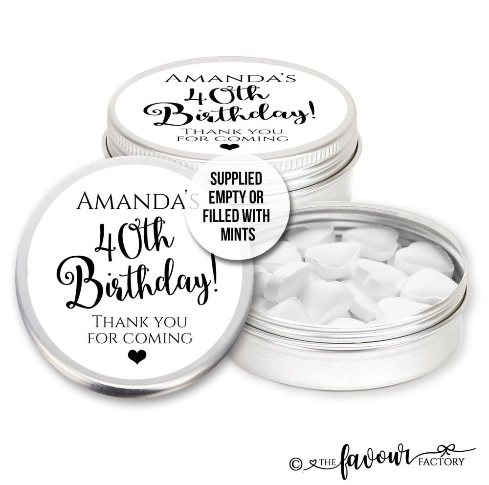 Adult Birthday Favours Tins Simply Black & White x1