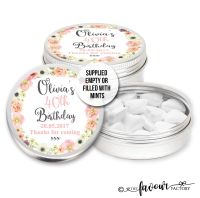 Adult Birthday Favours Tins Watercolour Floral Wreath x1