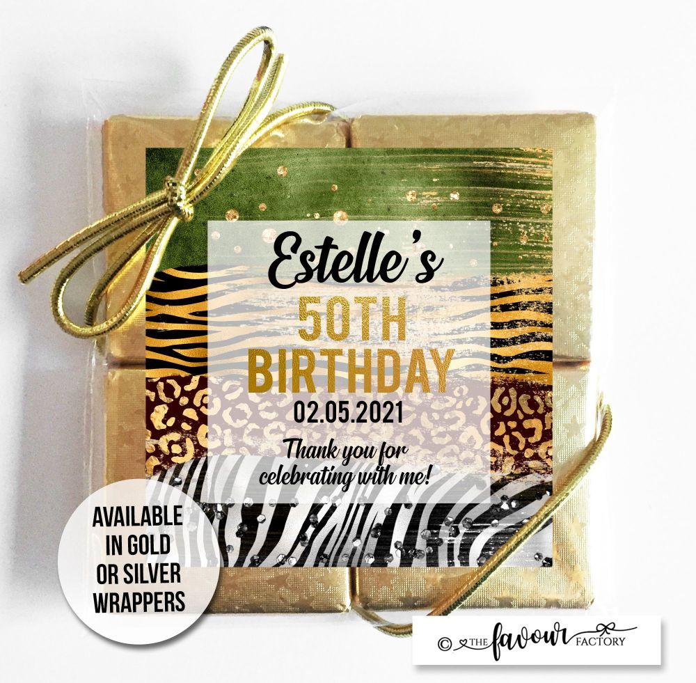 Adult Birthday Chocolates Quads Animal Prints x1