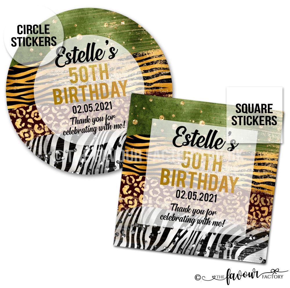 Adult Birthday Stickers Animal Prints A4 Sheet x1
