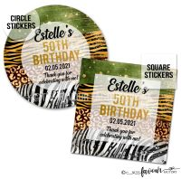 Adult Birthday Stickers Animal Prints A4 Sheet x1