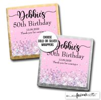 Birthday Chocolates Pink Glitter Sparkles x10
