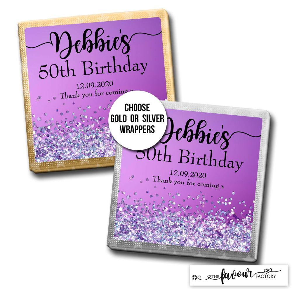 Birthday Chocolates Purple Glitter Sparkles x10