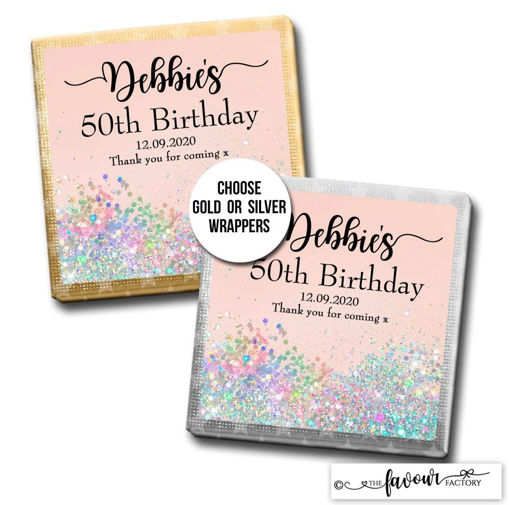 Birthday Chocolates Pale Peach Iridescent Glitter x10