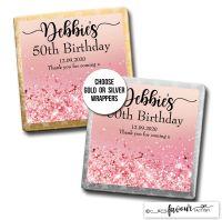 Birthday Chocolates Rose Pink Glitter Sparkles x10