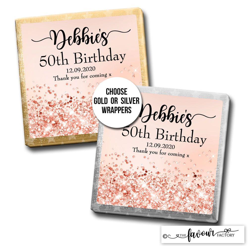 Birthday Chocolates Rose Gold Glitter Sparkles x10