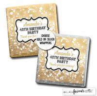 Birthday Chocolates Gold Bokeh Sparkles x10