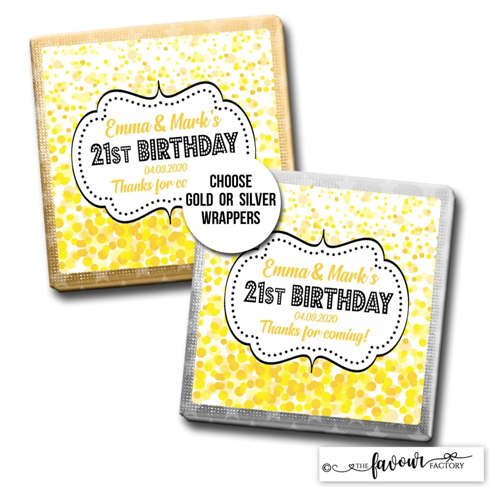Birthday Favours Chocolates Yellow Confetti x10