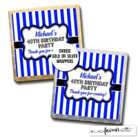 Birthday Party Favours Chocolates Blue Stripes x10