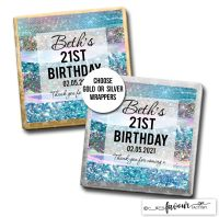 Birthday Chocolates Blue Iridescent Glitter Strokes x10