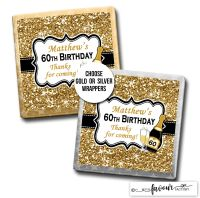 Birthday Chocolates Champagne Gold Glitter x10