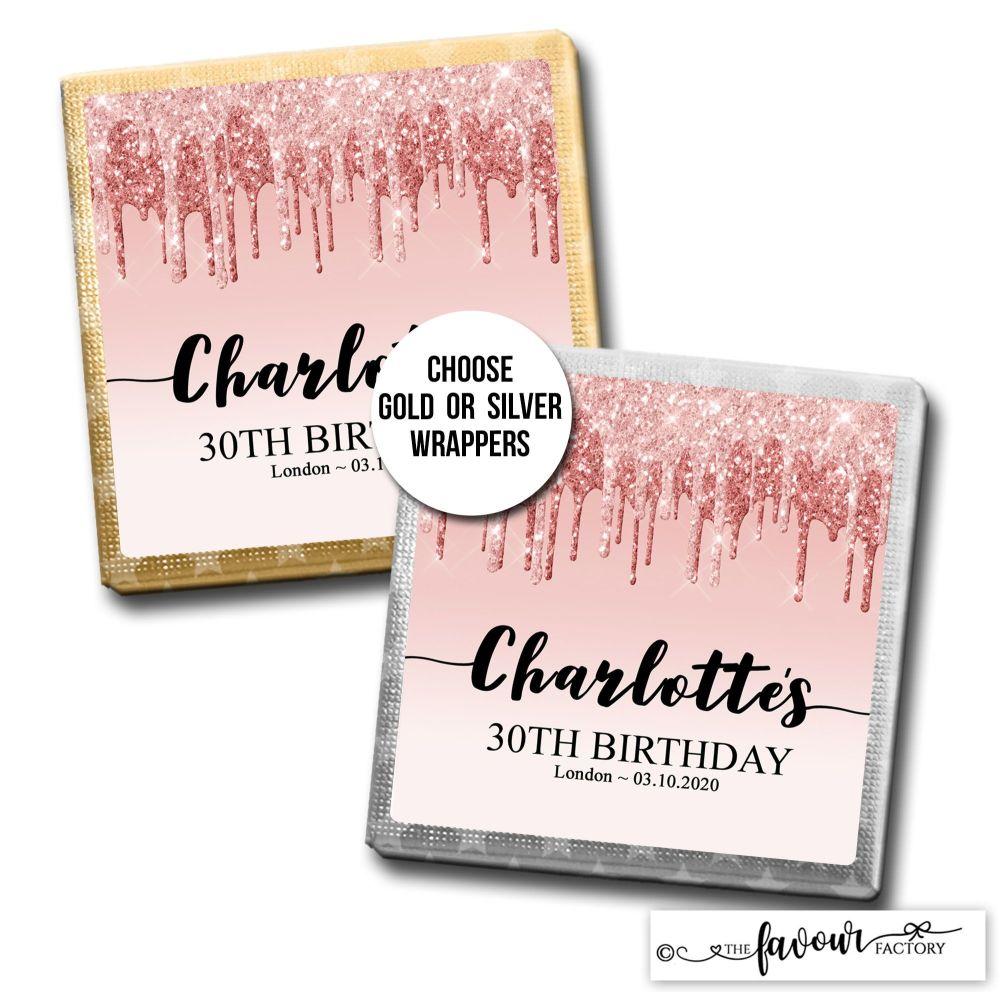 Birthday Chocolates Rose Gold Dripping Glitter x10