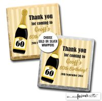 Birthday Chocolates Gold Champagne Stripes x10