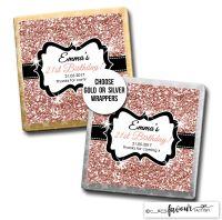 Birthday Chocolates Rose Gold Glitter x10