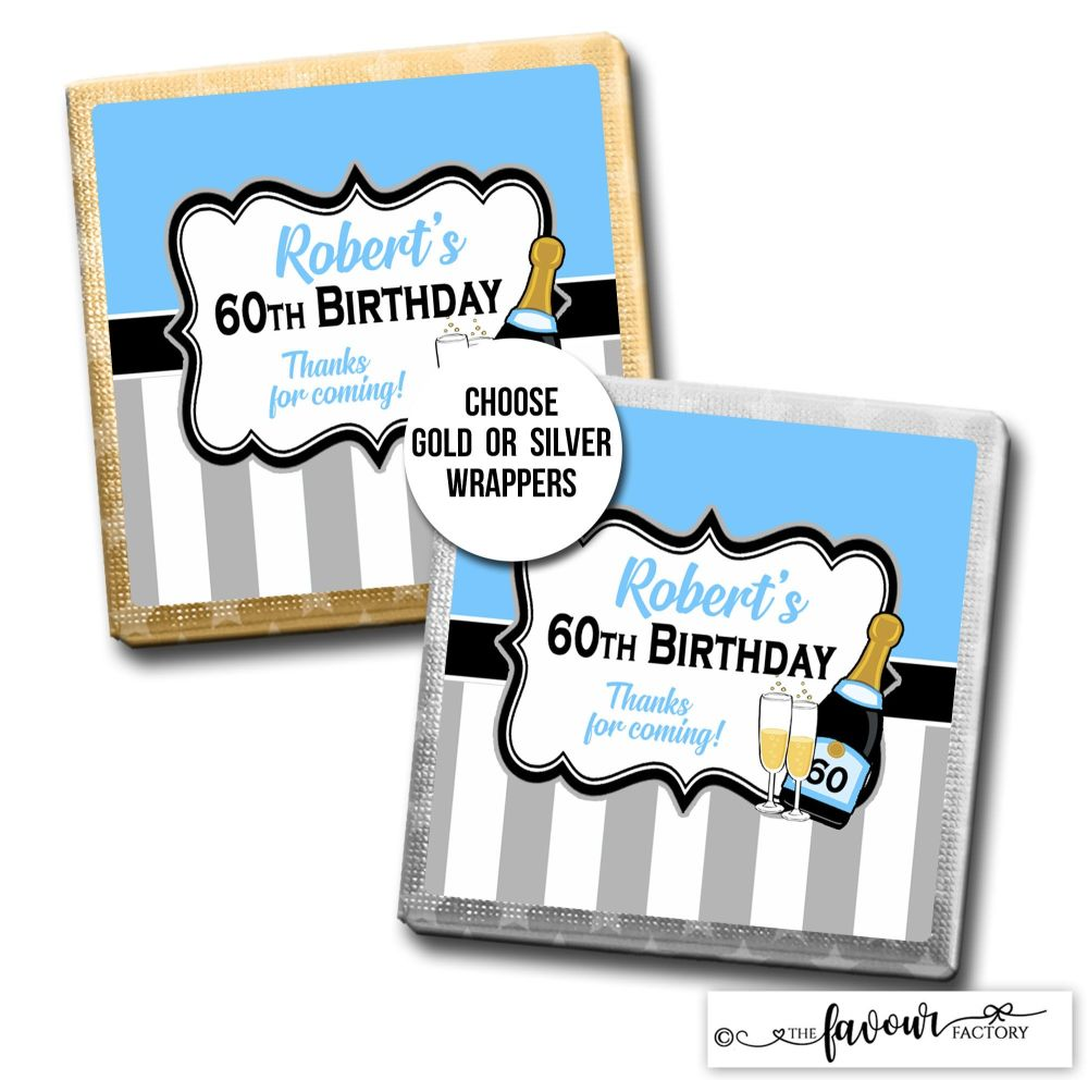 Birthday Chocolates Champagne Stripes Blue x10