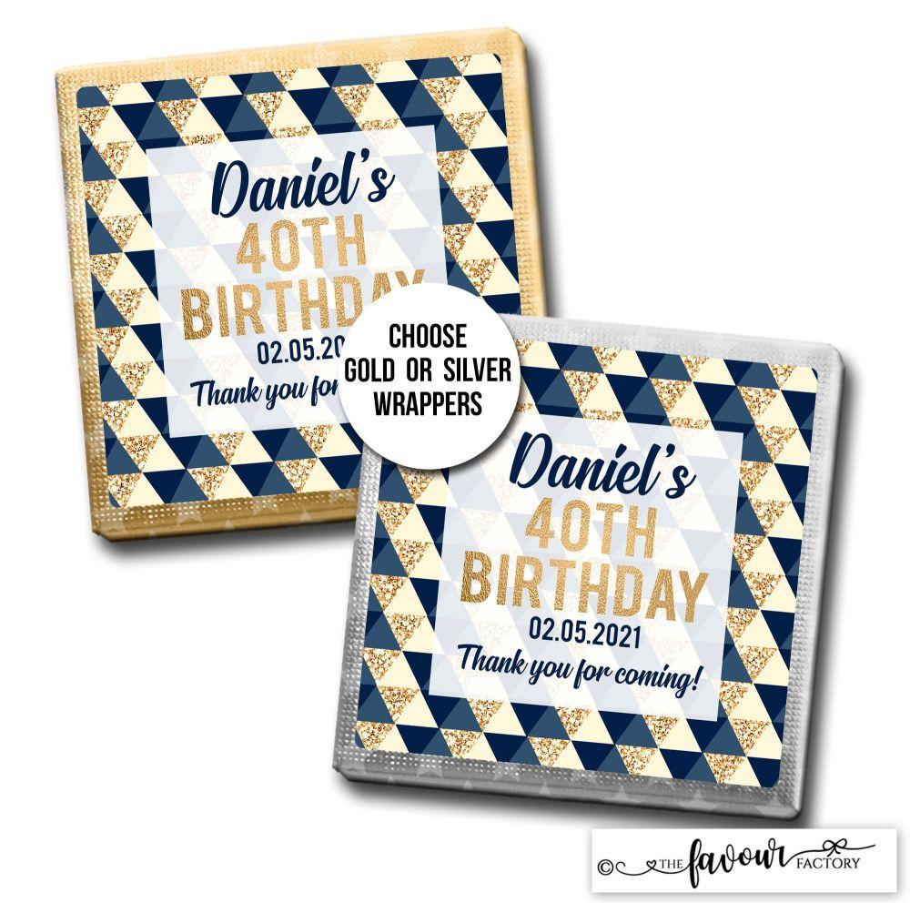Birthday Chocolates Geo Shapes Navy & Gold x10